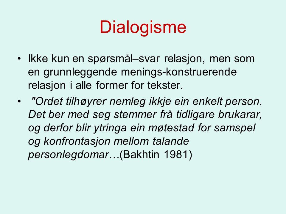 Dialogisme Ikke kun en spørsmål–svar relasjon, men som en grunnleggende menings-konstruerende relasjon i alle former for tekster.