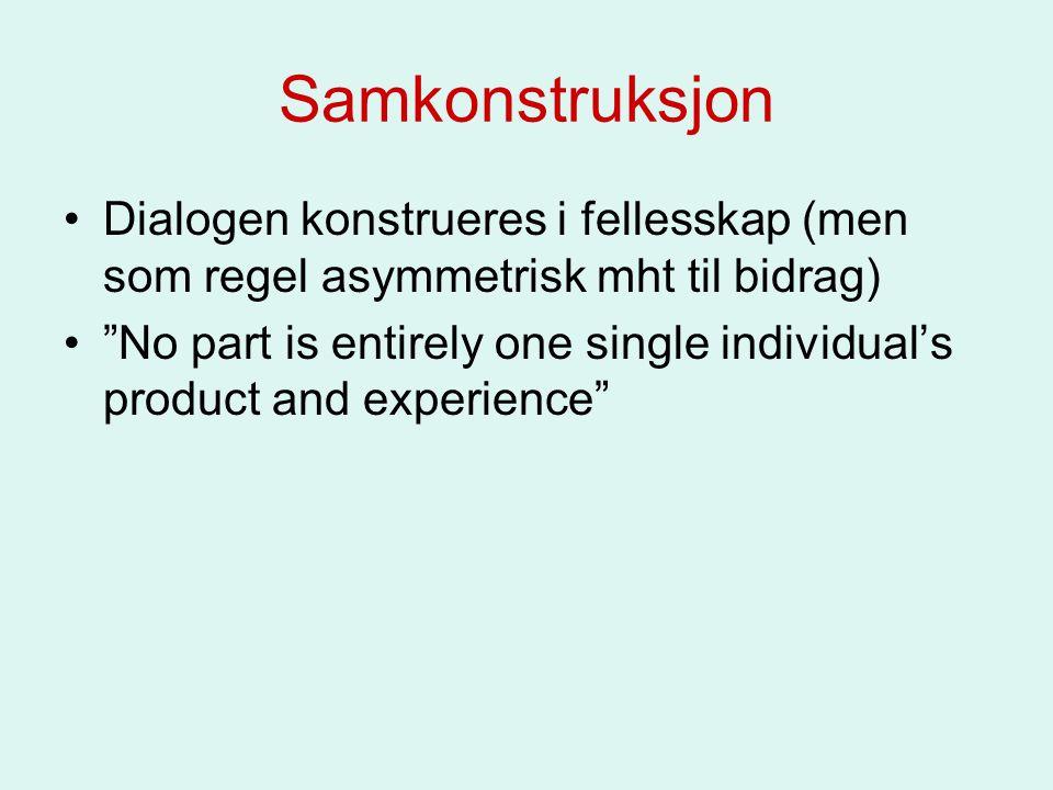 """Samkonstruksjon Dialogen konstrueres i fellesskap (men som regel asymmetrisk mht til bidrag) """"No part is entirely one single individual's product and"""