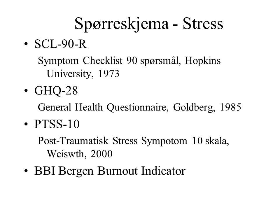 Spørreskjema - Stress SCL-90-R Symptom Checklist 90 spørsmål, Hopkins University, 1973 GHQ-28 General Health Questionnaire, Goldberg, 1985 PTSS-10 Pos