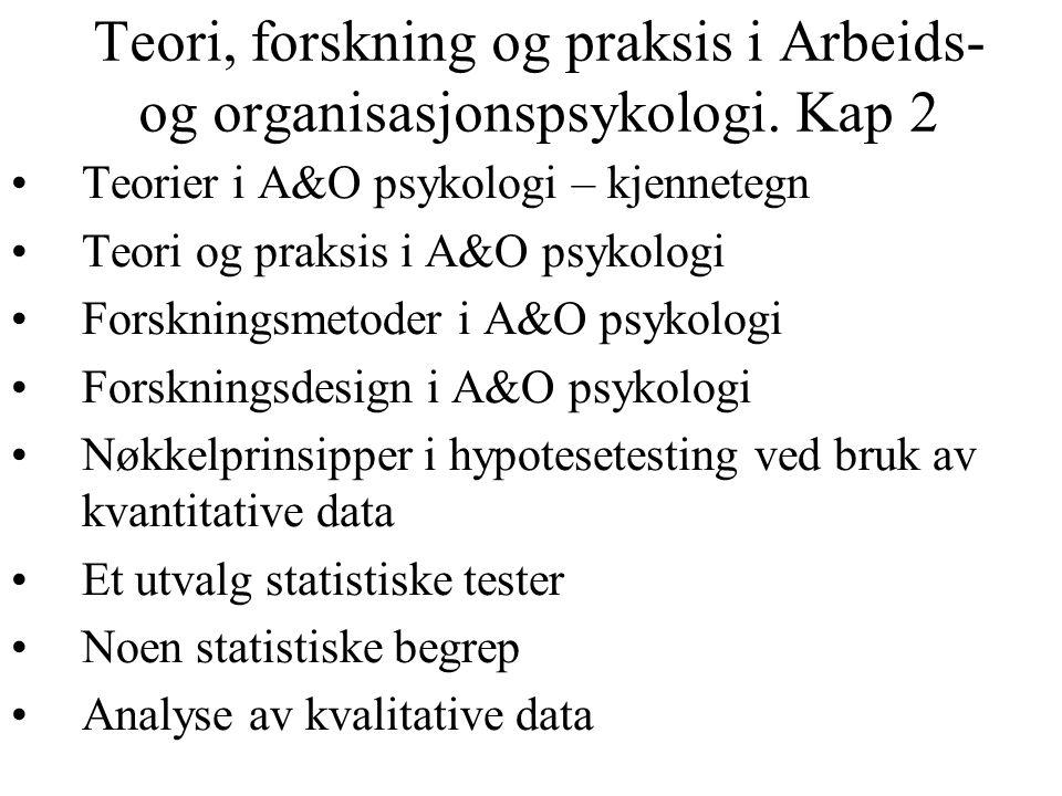Teori, forskning og praksis i Arbeids- og organisasjonspsykologi. Kap 2 Teorier i A&O psykologi – kjennetegn Teori og praksis i A&O psykologi Forsknin