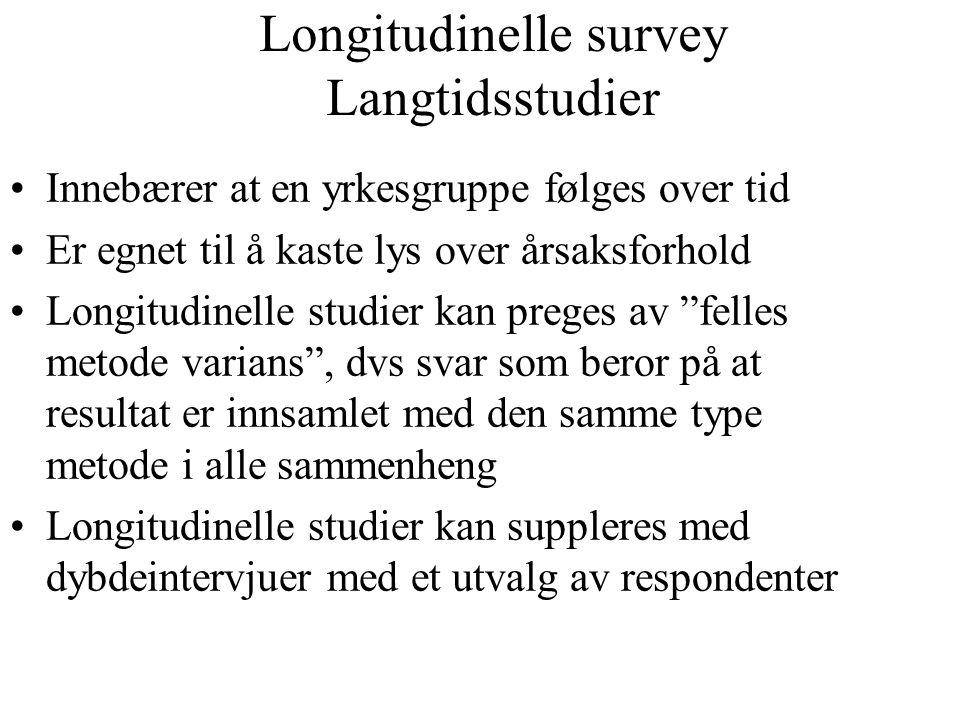 Longitudinelle survey Langtidsstudier Innebærer at en yrkesgruppe følges over tid Er egnet til å kaste lys over årsaksforhold Longitudinelle studier k