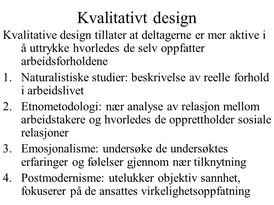 Kvalitativt design Kvalitative design tillater at deltagerne er mer aktive i å uttrykke hvorledes de selv oppfatter arbeidsforholdene 1.Naturalistiske
