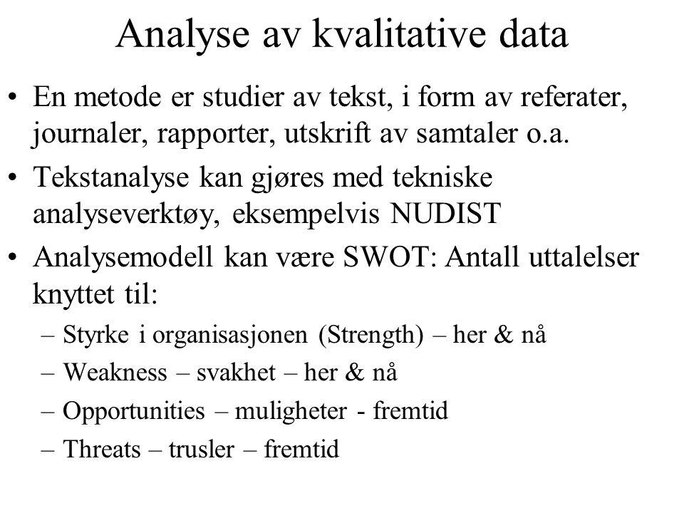 Analyse av kvalitative data En metode er studier av tekst, i form av referater, journaler, rapporter, utskrift av samtaler o.a. Tekstanalyse kan gjøre