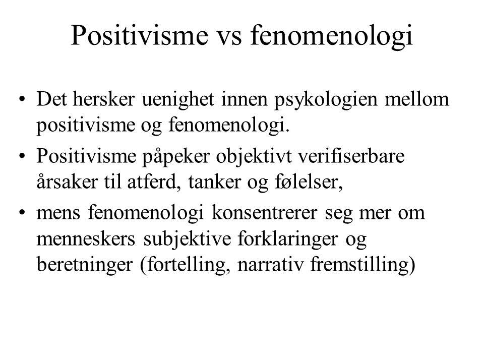 Positivisme vs fenomenologi Det hersker uenighet innen psykologien mellom positivisme og fenomenologi. Positivisme påpeker objektivt verifiserbare års