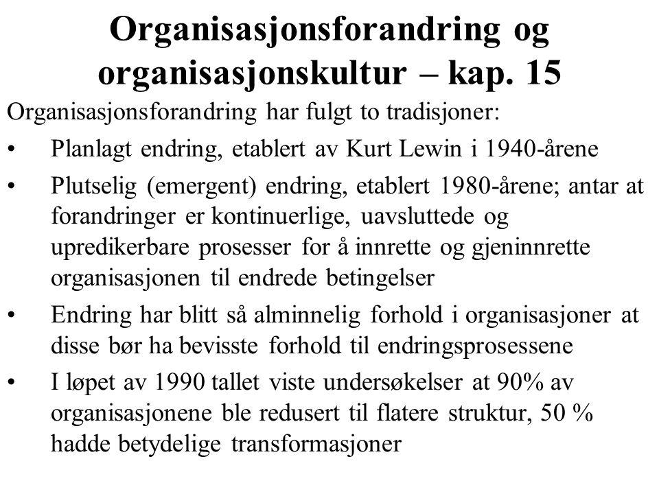 Organisasjonsforandring og organisasjonskultur – kap.