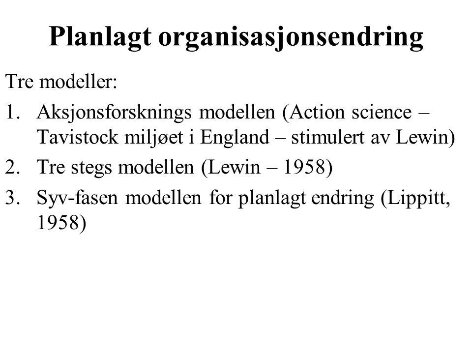 Planlagt organisasjonsendring Tre modeller: 1.Aksjonsforsknings modellen (Action science – Tavistock miljøet i England – stimulert av Lewin) 2.Tre stegs modellen (Lewin – 1958) 3.Syv-fasen modellen for planlagt endring (Lippitt, 1958)