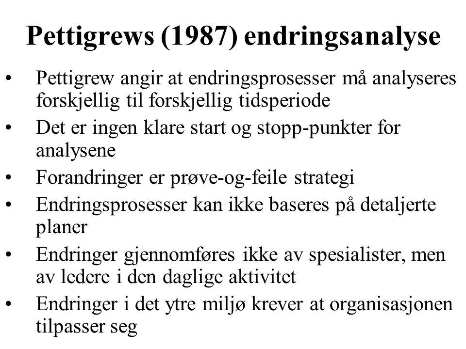 Pettigrews (1987) endringsanalyse Pettigrew angir at endringsprosesser må analyseres forskjellig til forskjellig tidsperiode Det er ingen klare start og stopp-punkter for analysene Forandringer er prøve-og-feile strategi Endringsprosesser kan ikke baseres på detaljerte planer Endringer gjennomføres ikke av spesialister, men av ledere i den daglige aktivitet Endringer i det ytre miljø krever at organisasjonen tilpasser seg