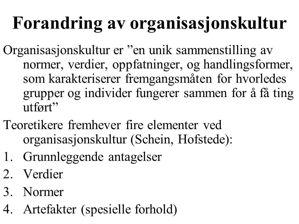 Forandring av organisasjonskultur Organisasjonskultur er en unik sammenstilling av normer, verdier, oppfatninger, og handlingsformer, som karakteriserer fremgangsmåten for hvorledes grupper og individer fungerer sammen for å få ting utført Teoretikere fremhever fire elementer ved organisasjonskultur (Schein, Hofstede): 1.Grunnleggende antagelser 2.Verdier 3.Normer 4.Artefakter (spesielle forhold)