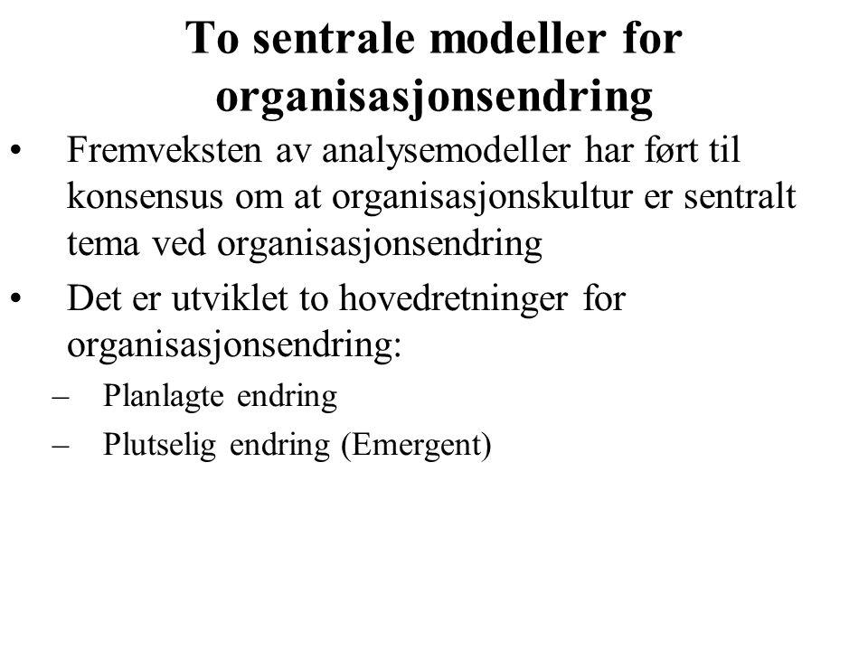To sentrale modeller for organisasjonsendring Fremveksten av analysemodeller har ført til konsensus om at organisasjonskultur er sentralt tema ved organisasjonsendring Det er utviklet to hovedretninger for organisasjonsendring: –Planlagte endring –Plutselig endring (Emergent)