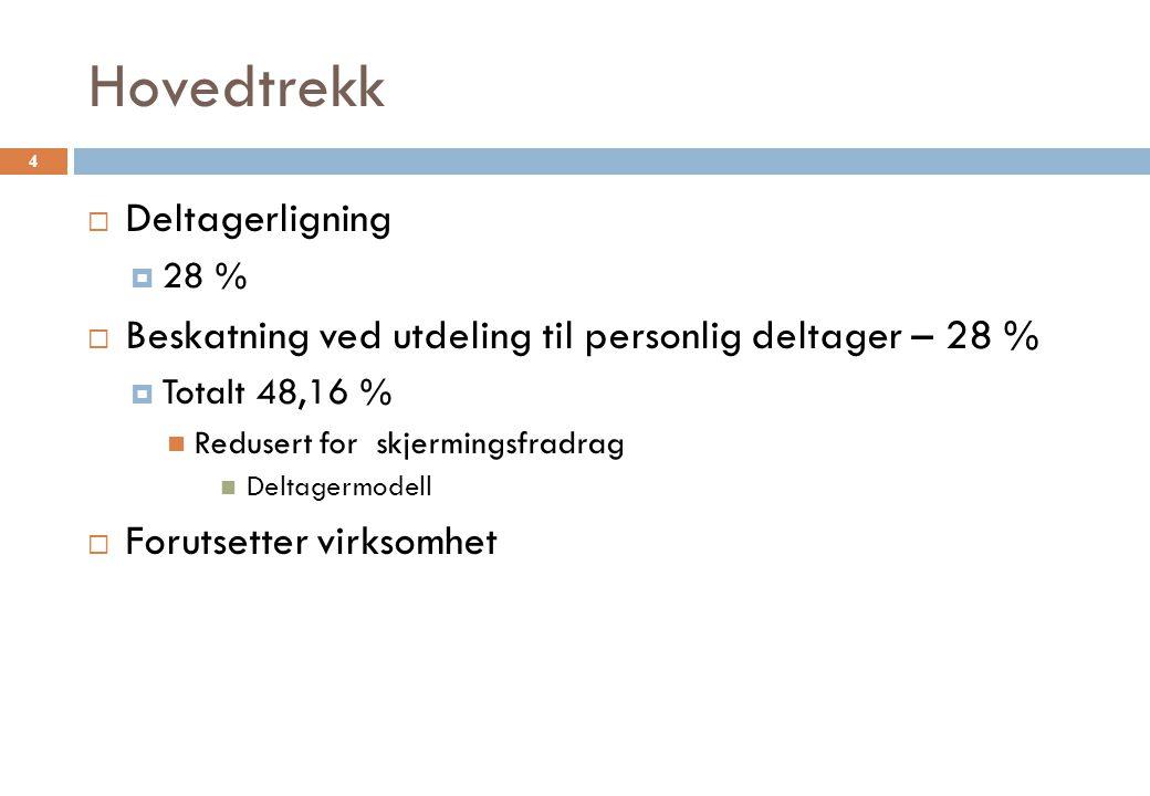 Hovedtrekk  Deltagerligning  28 %  Beskatning ved utdeling til personlig deltager – 28 %  Totalt 48,16 % Redusert for skjermingsfradrag Deltagermodell  Forutsetter virksomhet 4