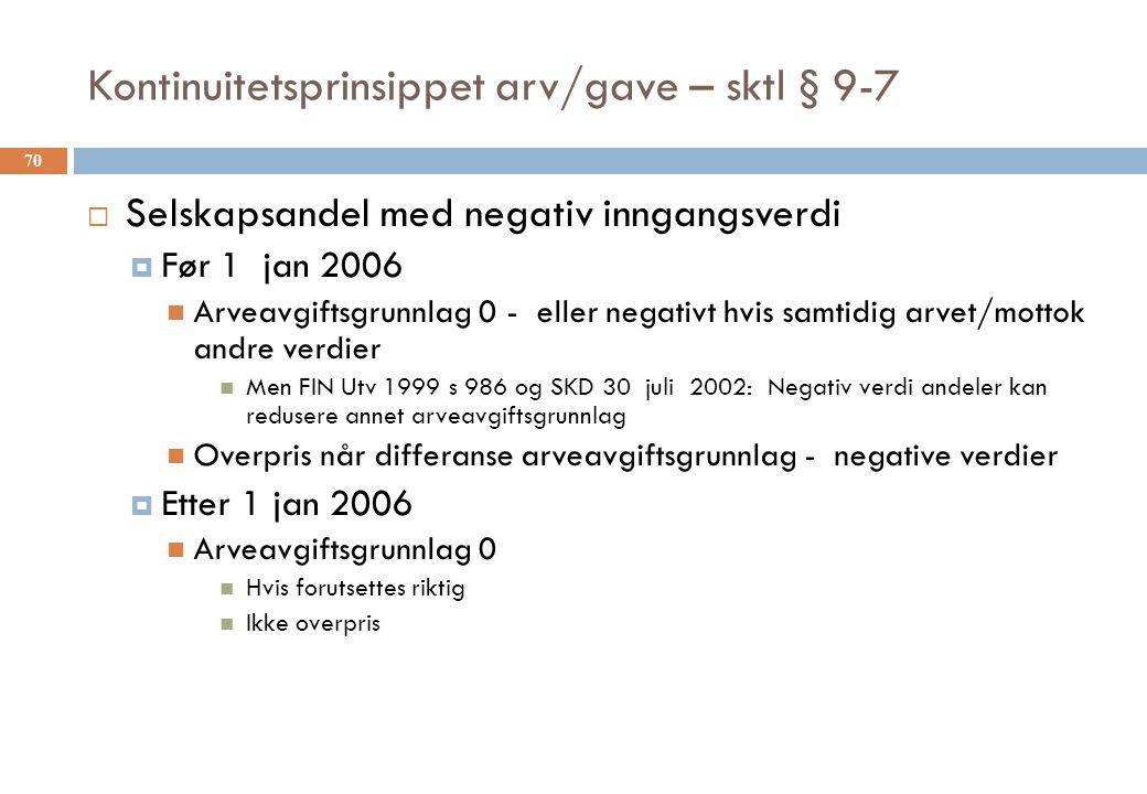 Kontinuitetsprinsippet arv/gave – sktl § 9-7  Selskapsandel med negativ inngangsverdi  Før 1 jan 2006 Arveavgiftsgrunnlag 0 - eller negativt hvis sa