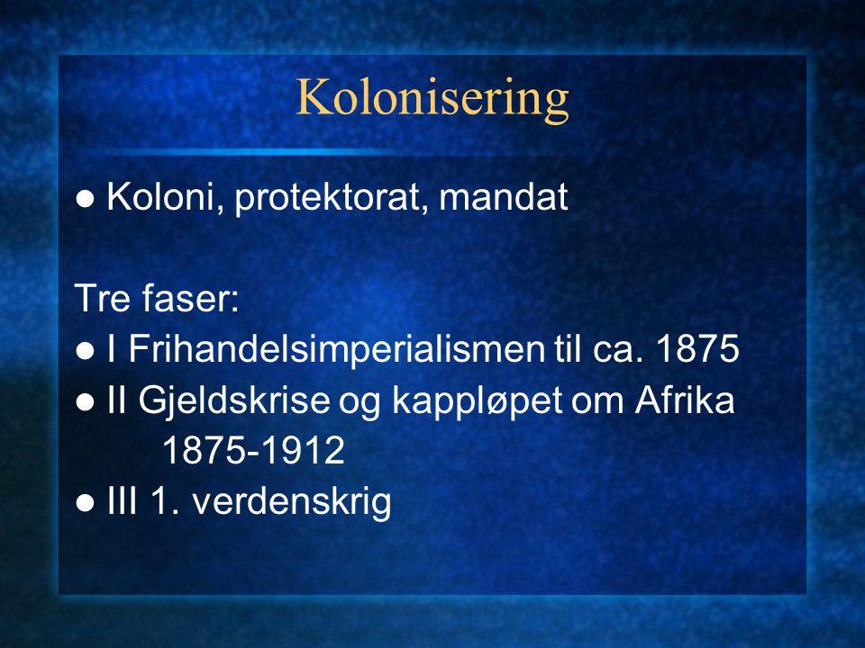 Kolonisering Koloni, protektorat, mandat Tre faser: I Frihandelsimperialismen til ca. 1875 II Gjeldskrise og kappløpet om Afrika 1875-1912 III 1. verd