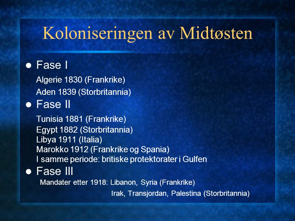 Koloniseringen av Midtøsten Fase I Algerie 1830 (Frankrike) Aden 1839 (Storbritannia) Fase II Tunisia 1881 (Frankrike) Egypt 1882 (Storbritannia) Liby