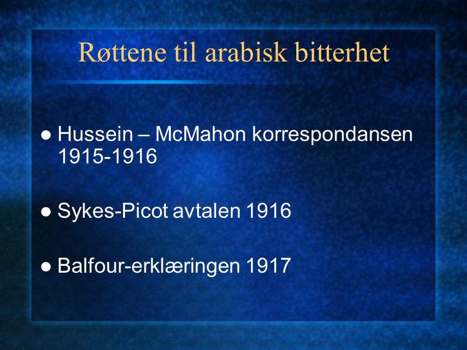 Røttene til arabisk bitterhet Hussein – McMahon korrespondansen 1915-1916 Sykes-Picot avtalen 1916 Balfour-erklæringen 1917
