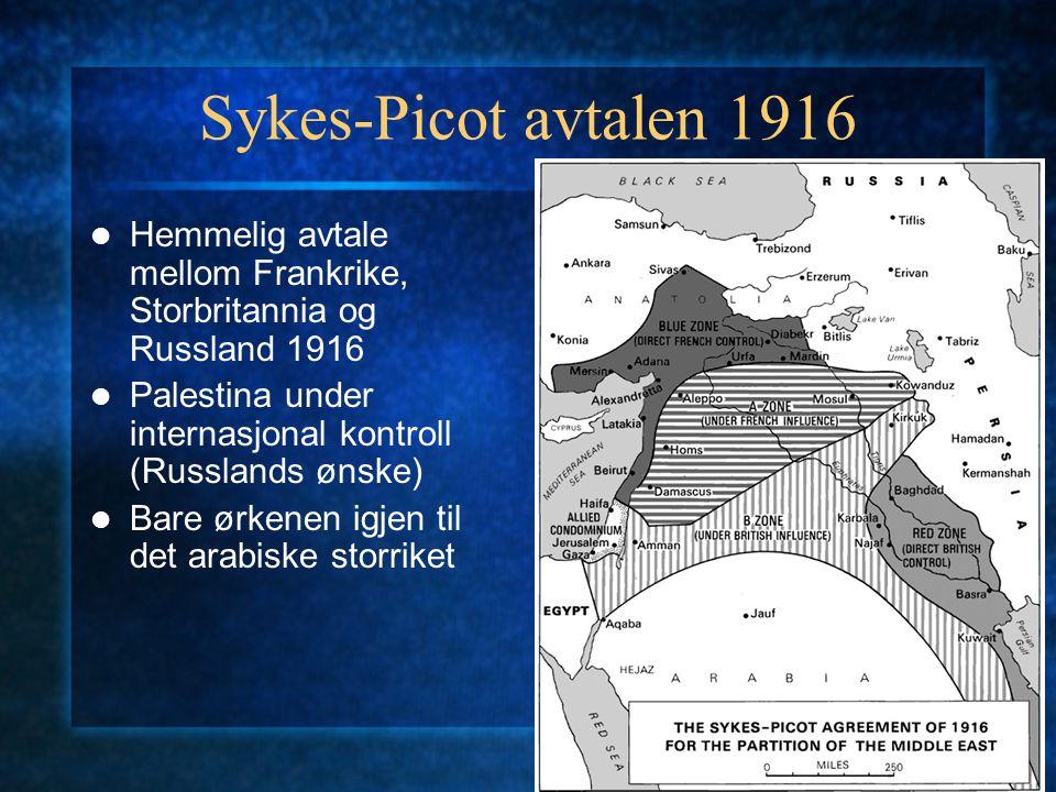 Sykes-Picot avtalen 1916 Hemmelig avtale mellom Frankrike, Storbritannia og Russland 1916 Palestina under internasjonal kontroll (Russlands ønske) Bar