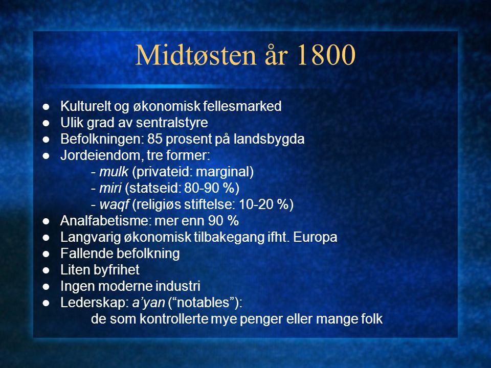 Midtøsten år 1800 Kulturelt og økonomisk fellesmarked Ulik grad av sentralstyre Befolkningen: 85 prosent på landsbygda Jordeiendom, tre former: - mulk