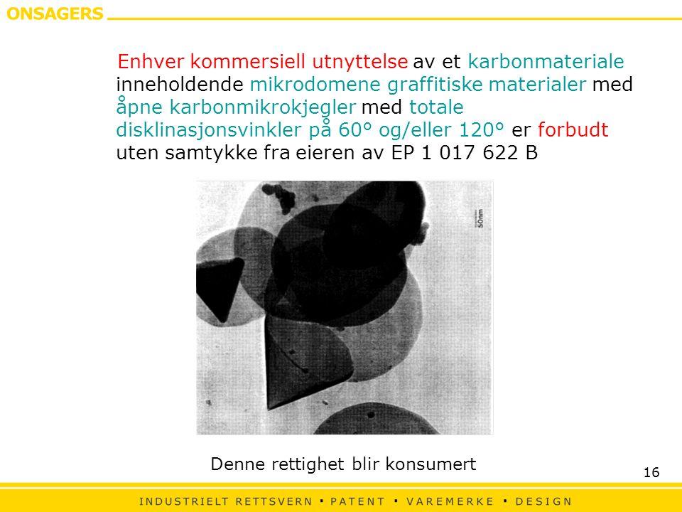 16 Enhver kommersiell utnyttelse av et karbonmateriale inneholdende mikrodomene graffitiske materialer med åpne karbonmikrokjegler med totale disklinasjonsvinkler på 60° og/eller 120° er forbudt uten samtykke fra eieren av EP 1 017 622 B Denne rettighet blir konsumert