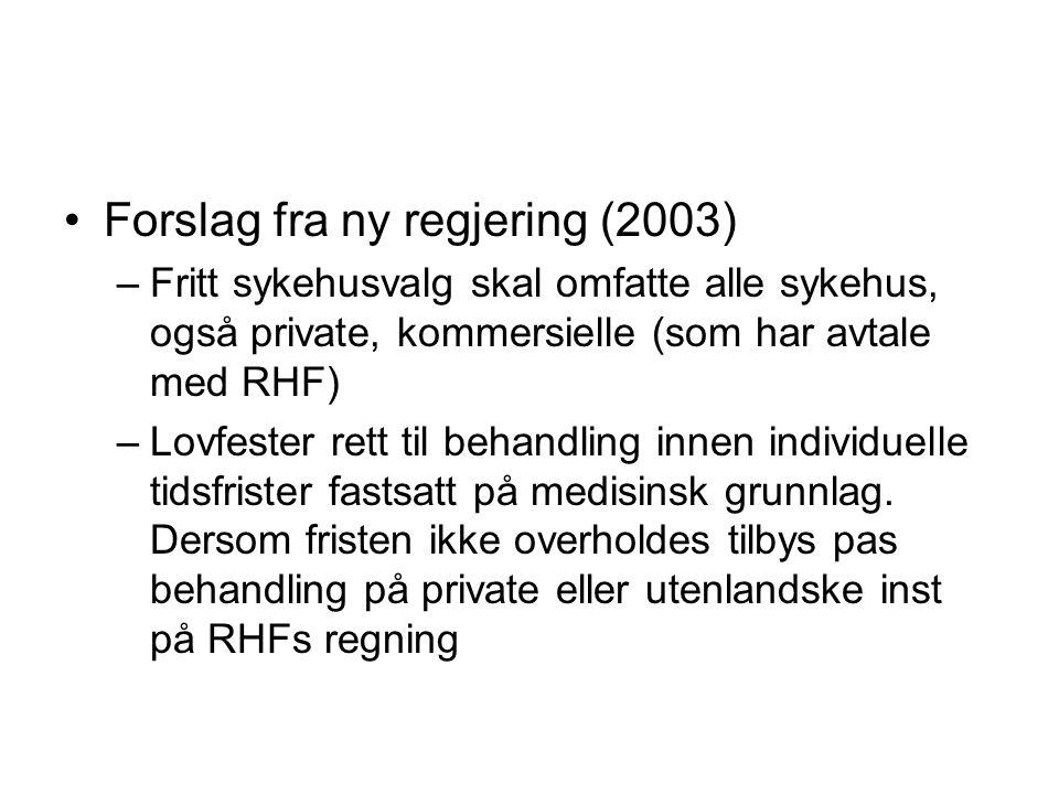 Forslag fra ny regjering (2003) –Fritt sykehusvalg skal omfatte alle sykehus, også private, kommersielle (som har avtale med RHF) –Lovfester rett til behandling innen individuelle tidsfrister fastsatt på medisinsk grunnlag.