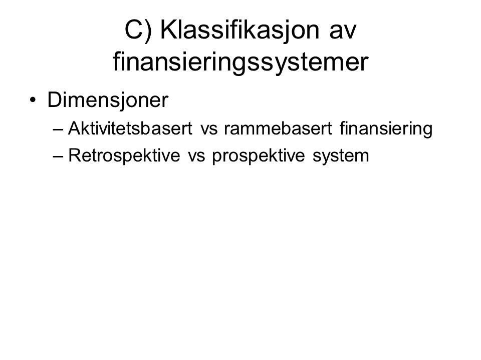 C) Klassifikasjon av finansieringssystemer Dimensjoner –Aktivitetsbasert vs rammebasert finansiering –Retrospektive vs prospektive system