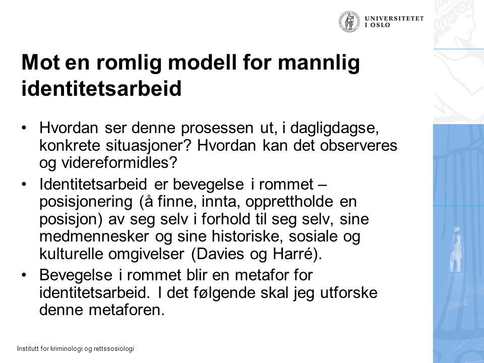 Institutt for kriminologi og rettssosiologi Mot en romlig modell for mannlig identitetsarbeid Hvordan ser denne prosessen ut, i dagligdagse, konkrete