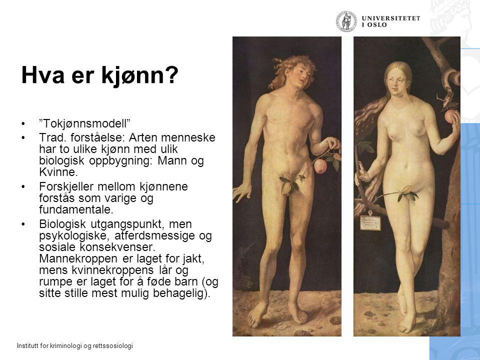 """Institutt for kriminologi og rettssosiologi Hva er kjønn? """"Tokjønnsmodell"""" Trad. forståelse: Arten menneske har to ulike kjønn med ulik biologisk oppb"""