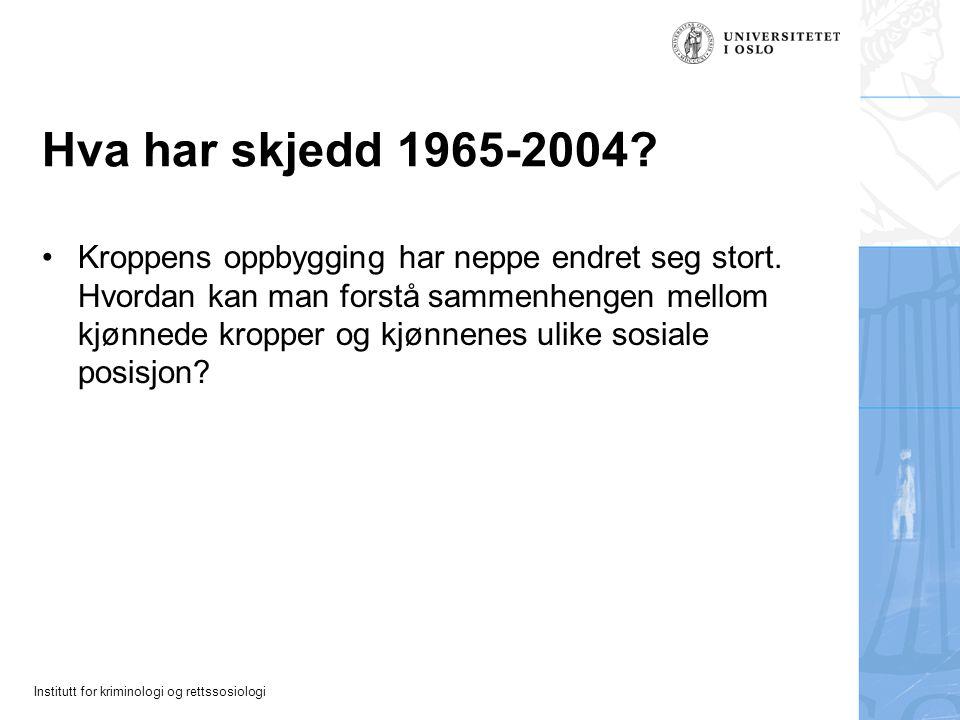 Institutt for kriminologi og rettssosiologi Hva har skjedd 1965-2004? Kroppens oppbygging har neppe endret seg stort. Hvordan kan man forstå sammenhen