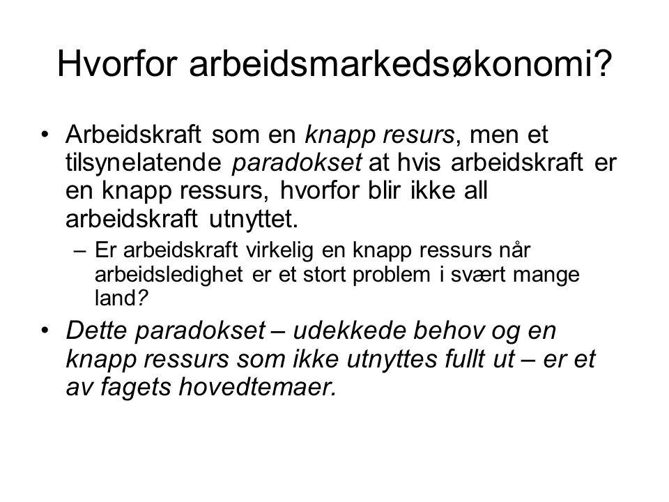 Hva er arbeidsmarkedsøkonomi.Et marked beskrives ofte ved hjelp av pris og kvantum/volum.