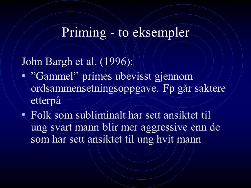 """Priming - to eksempler John Bargh et al. (1996): """"Gammel"""" primes ubevisst gjennom ordsammensetningsoppgave. Fp går saktere etterpå Folk som subliminal"""