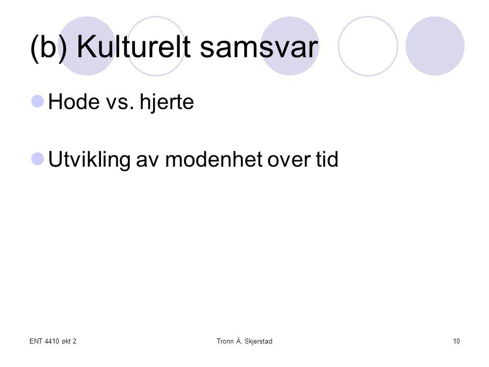 ENT 4410 økt 2Tronn Å. Skjerstad10 (b) Kulturelt samsvar Hode vs.
