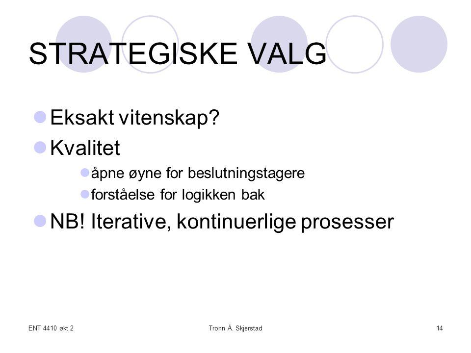 ENT 4410 økt 2Tronn Å. Skjerstad14 STRATEGISKE VALG Eksakt vitenskap.