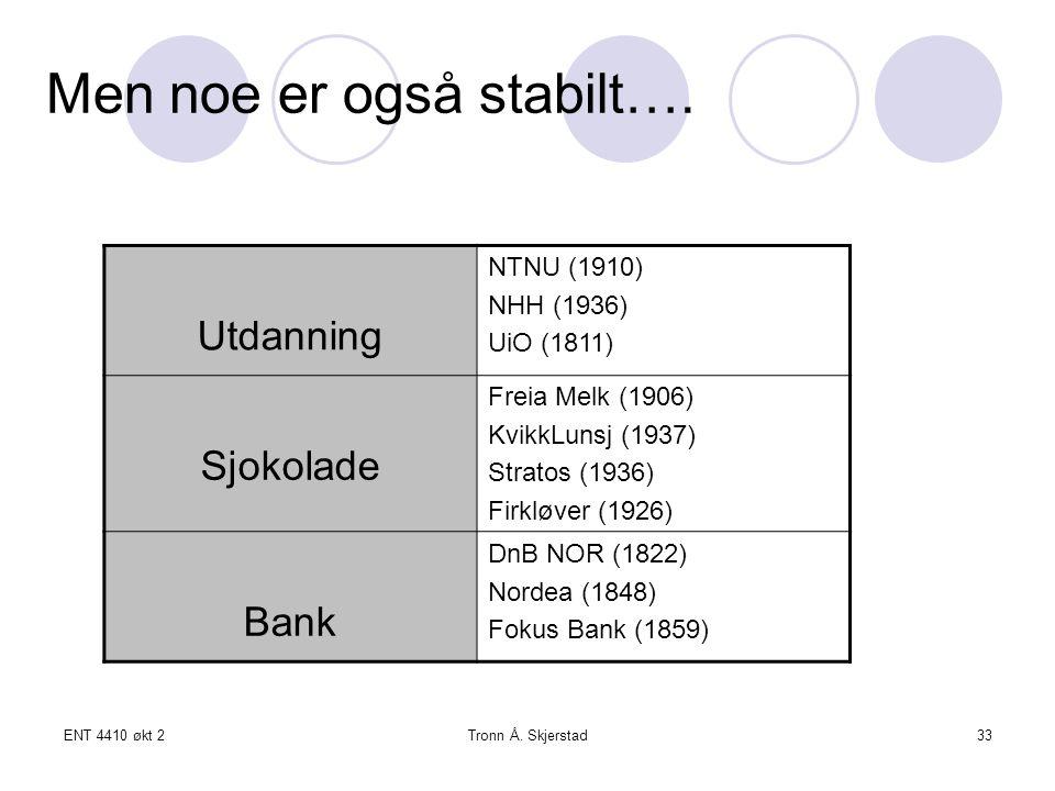 ENT 4410 økt 2Tronn Å. Skjerstad33 Men noe er også stabilt….