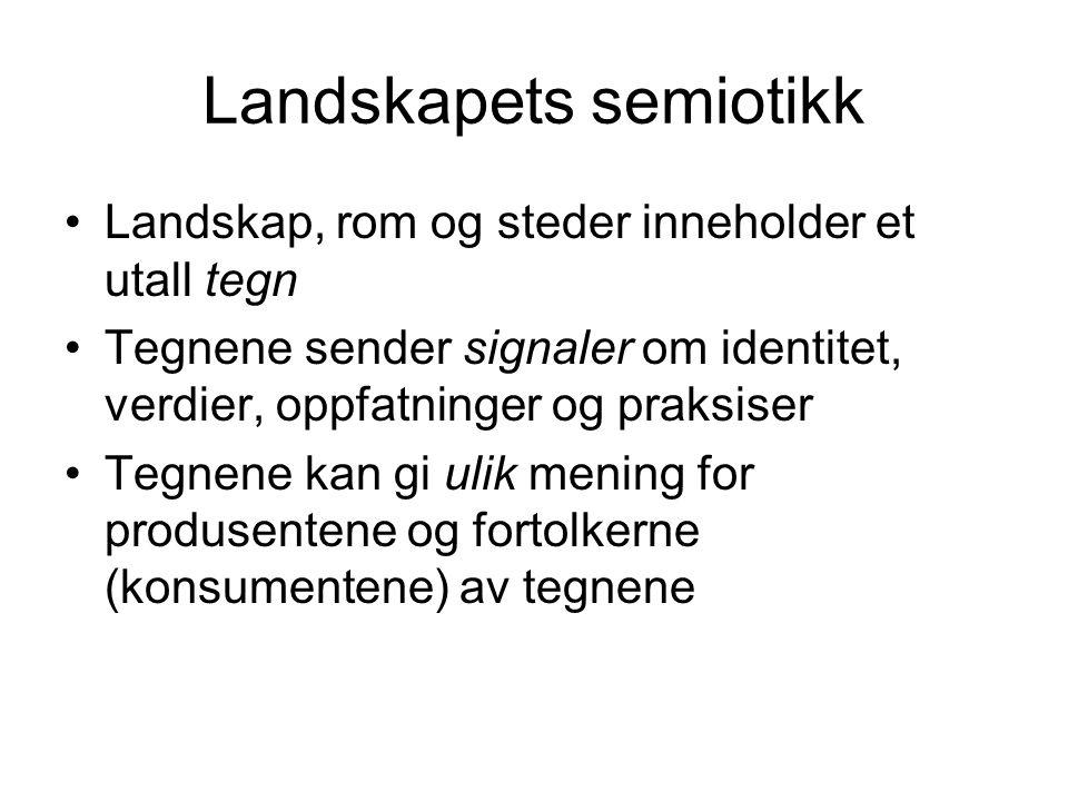 Landskapets semiotikk Landskap, rom og steder inneholder et utall tegn Tegnene sender signaler om identitet, verdier, oppfatninger og praksiser Tegnene kan gi ulik mening for produsentene og fortolkerne (konsumentene) av tegnene
