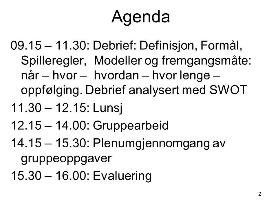 2 Agenda 09.15 – 11.30: Debrief: Definisjon, Formål, Spilleregler, Modeller og fremgangsmåte: når – hvor – hvordan – hvor lenge – oppfølging. Debrief