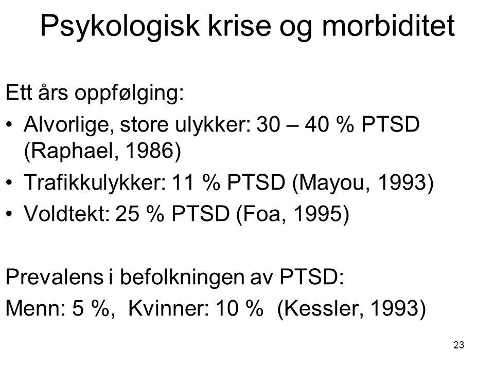 23 Psykologisk krise og morbiditet Ett års oppfølging: Alvorlige, store ulykker: 30 – 40 % PTSD (Raphael, 1986) Trafikkulykker: 11 % PTSD (Mayou, 1993