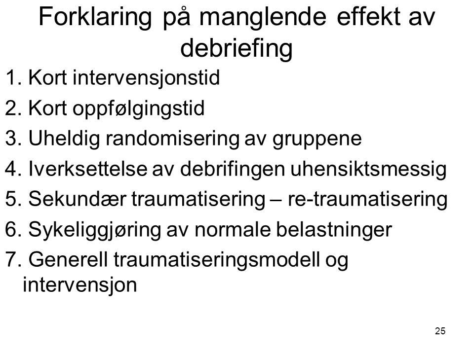 25 Forklaring på manglende effekt av debriefing 1. Kort intervensjonstid 2. Kort oppfølgingstid 3. Uheldig randomisering av gruppene 4. Iverksettelse
