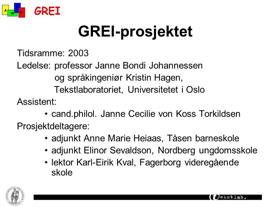 GREI-prosjektet Tidsramme: 2003 Ledelse: professor Janne Bondi Johannessen og språkingeniør Kristin Hagen, Tekstlaboratoriet, Universitetet i Oslo Assistent: cand.philol.