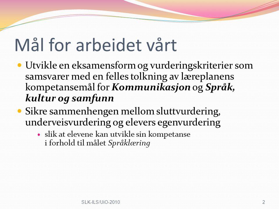 Disposisjon Det europeiske Rammeverket og Språkpermen og kommunikativ kompetanse (4-11) LK06: Læreplanene og muntlig språkferdighet/kompetanse (12-15) Samsvar mellom mål og eksamen - Washback-effekt - Reliabilitet og validitet (16-20) Dissekering av læreplanens 3 muntlig-kompetanser (21-33) 3SLK-ILS/UiO-2010