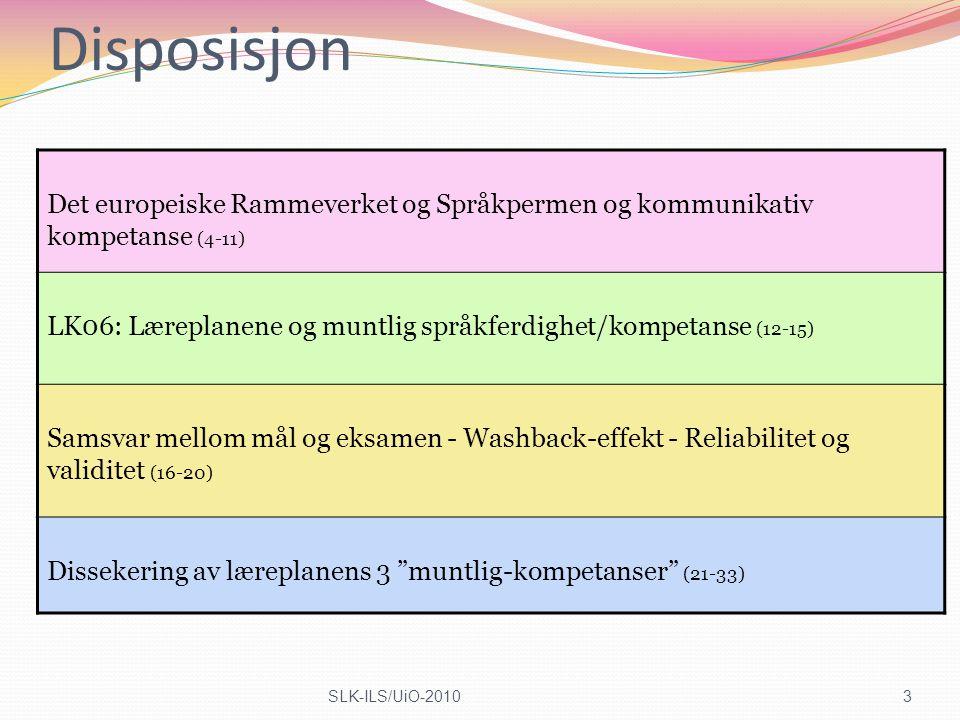 Disposisjon Det europeiske Rammeverket og Språkpermen og kommunikativ kompetanse (4-11) LK06: Læreplanene og muntlig språkferdighet/kompetanse (12-15)