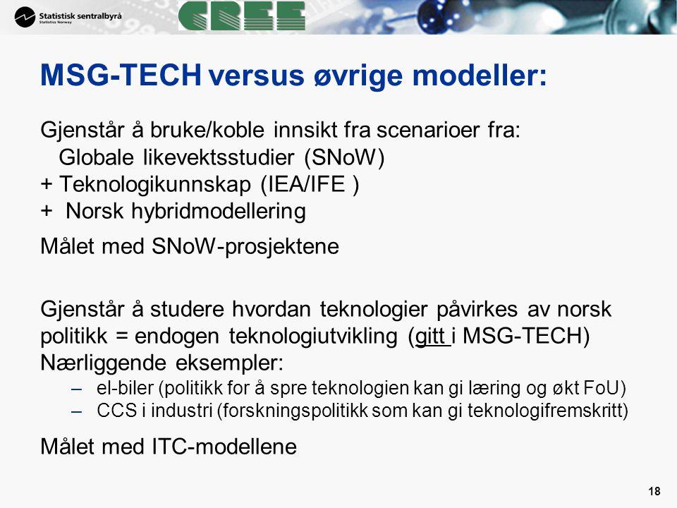 MSG-TECH versus øvrige modeller: Gjenstår å bruke/koble innsikt fra scenarioer fra: Globale likevektsstudier (SNoW) + Teknologikunnskap (IEA/IFE ) + N