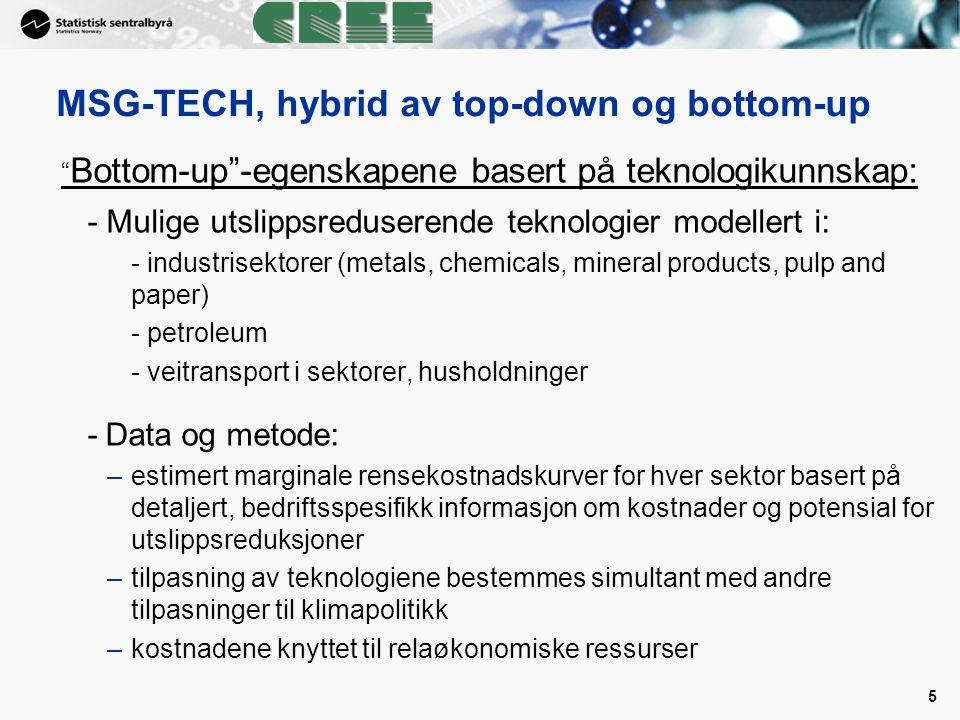 """5 """" Bottom-up""""-egenskapene basert på teknologikunnskap: - Mulige utslippsreduserende teknologier modellert i: - industrisektorer (metals, chemicals, m"""