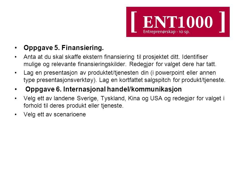 Oppgave 5. Finansiering. Anta at du skal skaffe ekstern finansiering til prosjektet ditt.