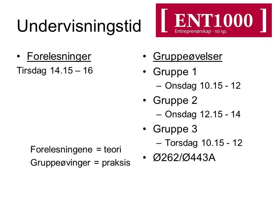 Undervisningstid Forelesninger Tirsdag 14.15 – 16 Forelesningene = teori Gruppeøvinger = praksis Gruppeøvelser Gruppe 1 –Onsdag 10.15 - 12 Gruppe 2 –O