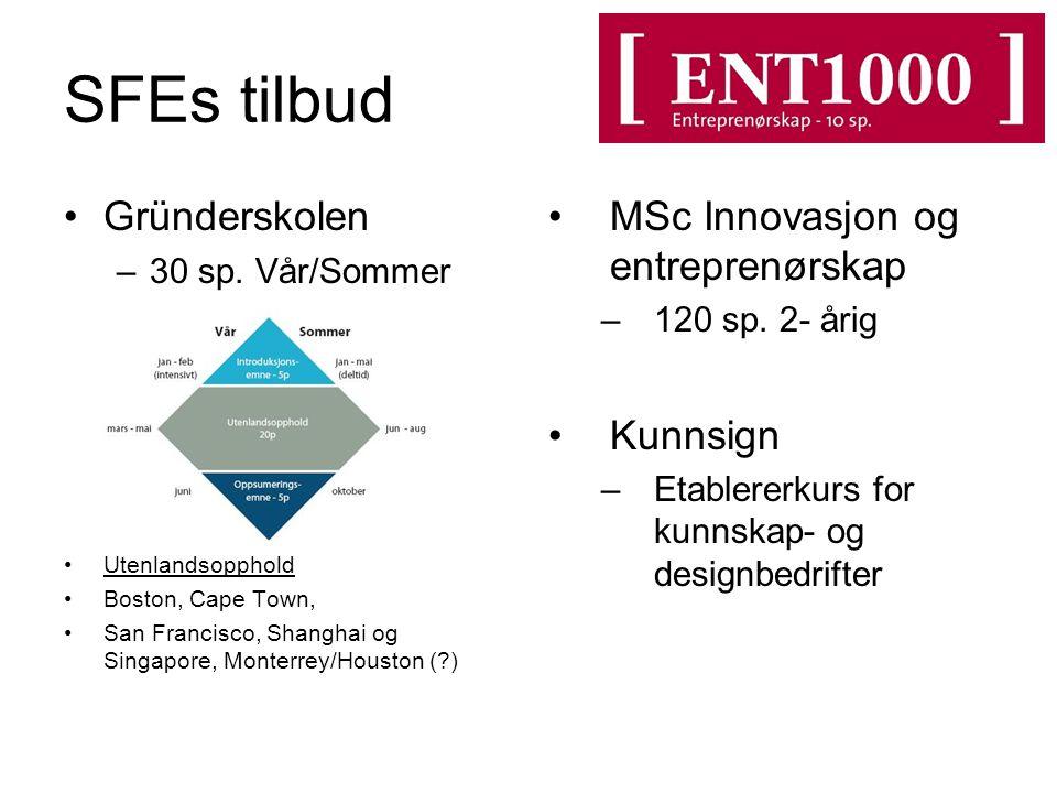 SFEs tilbud Gründerskolen –30 sp.