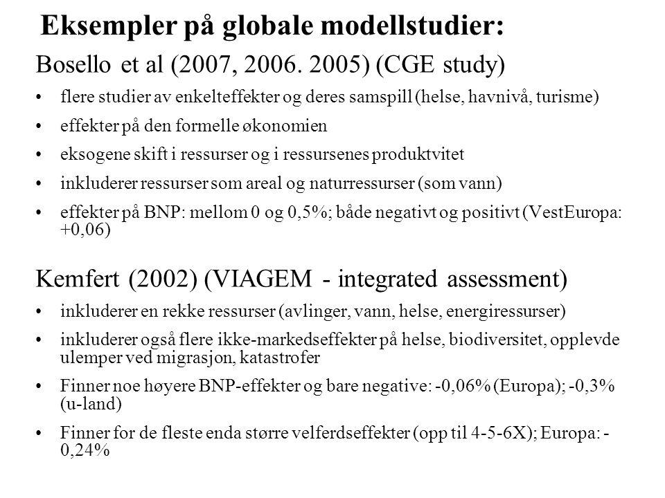 Eksempler på globale modellstudier: Bosello et al (2007, 2006. 2005) (CGE study) flere studier av enkelteffekter og deres samspill (helse, havnivå, tu