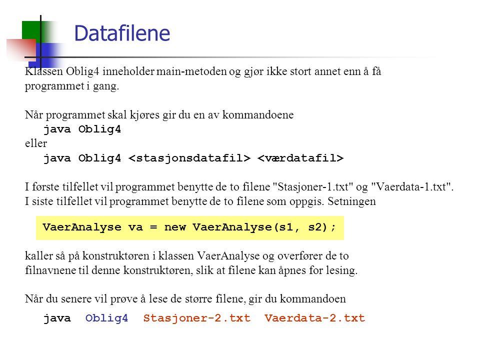 Datafilene Klassen Oblig4 inneholder main-metoden og gjør ikke stort annet enn å få programmet i gang.