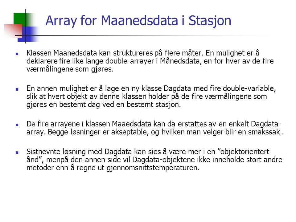 Array for Maanedsdata i Stasjon Klassen Maanedsdata kan struktureres på flere måter.