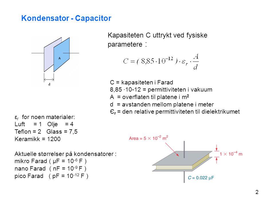 2 Aktuelle størrelser på kondensatorer : mikro Farad ( μF = 10 -6 F ) nano Farad ( nF = 10 -9 F ) pico Farad ( pF = 10 -12 F ) Kondensator - Capacitor