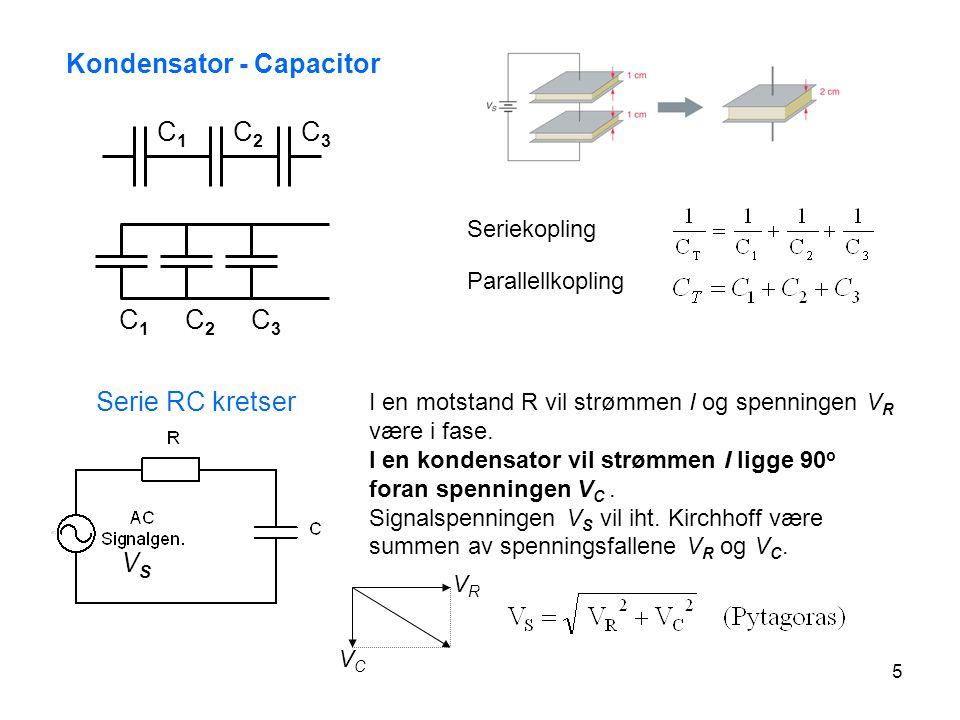 5 Kondensator - Capacitor C1C1 C2C2 C3C3 C1C1 C2C2 C3C3 Serie RC kretser I en motstand R vil strømmen I og spenningen V R være i fase. I en kondensato
