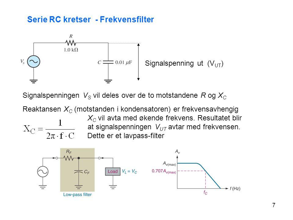 7 Serie RC kretser - Frekvensfilter Signalspenning ut (V UT ) Signalspenningen V S vil deles over de to motstandene R og X C Reaktansen X C (motstande