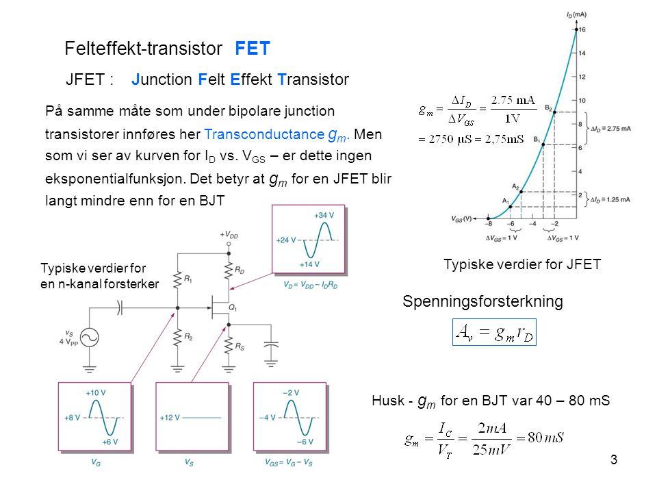 4 2 typer MOSFET Enhansment MOSFET ( Normalt av ) Depletion MOSFET ( Normalt på ) MOSFET : Metall Oksyd Felt Effekt Transistor Depletion MOSFET ( Normalt på ) Uten spenning på Gate eksisterer en ledende kanal mellom Source og Drain.